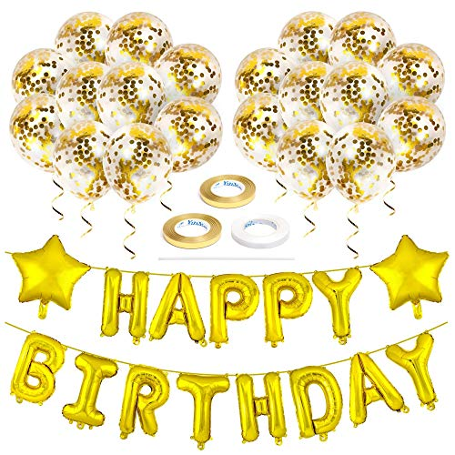 Zelaar Happy Birthday Balloons Banner Set for Birthday Party Decorations (Gold)     ]()