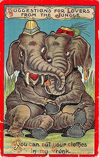 Jungle Lovers Hugging Dressed Elephants Romance Antique Postcard K49231 ()