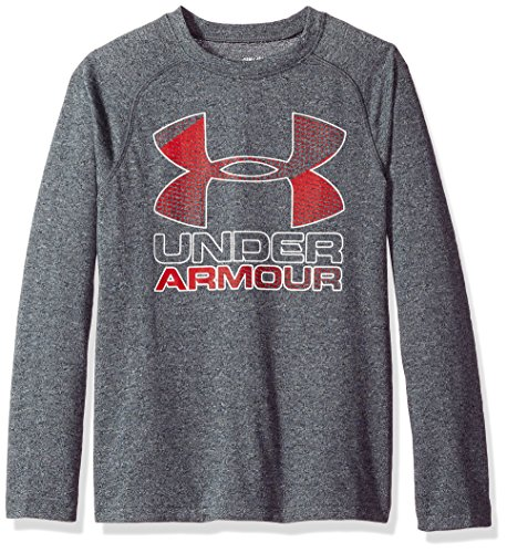 (Under Armour Boys' Hybrid Big Logo Long Sleeve T-Shirt,Black (001)/White, Youth X-Small)