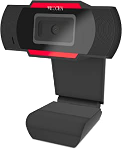 1080P HD Webcam with Microphone, Webcam for Gaming Conferencing, Laptop or Desktop Webcam, USB Computer Camera for Mac, Free-Driver Installation Fast Autofocus Red