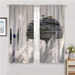DIMICA Home Decor Sliding Door Curtains Star Wars W63 x L72 Inch Print Home Decor Sliding Door Curtains Rod Pocket curtian