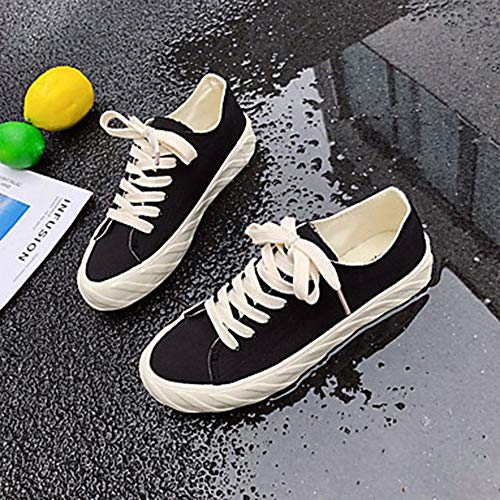 Toile UK5 Bout Confort Basket EU37 Eté Noir 5 US7 CN37 Black Rond Blanc Femme Plat Talon Chaussures A6wggqp5