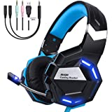 NHSM Cuffie Gaming PS4 PC Headset con Microfono LED 3.5mm Stereo Auricolare Controllo del Volume Xbox One Mac Windows Tablet Phone Nero/Blu
