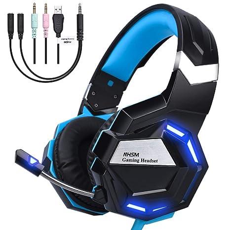NHSM Auriculares Gaming PS4 Stereo 3.5mm LED Cascos Gaming Juegos Micrófono Reducción de Ruido Xbox