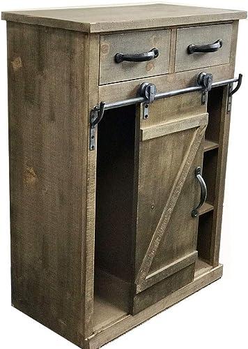 Paris Loft 32''H Rustic Sliding Barn Door Wood Cosole Cabinet Wood End Table
