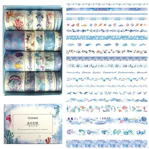 DzdzCrafts 20 Rolls Blue Whale Jellyfish Flower Feather Decorative Washi Tapes Set for Bullet Journal Diary Scrapbooking Planner Album Card Making (1.0cm 1.5cm 3cm Wide x 2M) ()