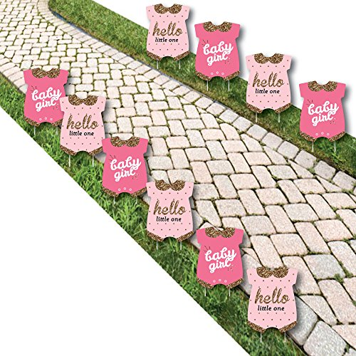 (Hello Little One - Pink and Gold - Baby Bodysuit Lawn Decorations - Outdoor Girl Baby Shower Yard Decorations - 10 Piece)