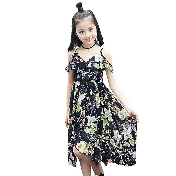 Sannysis Vestidos Casual Para Niña Bohemia Floral Plisada