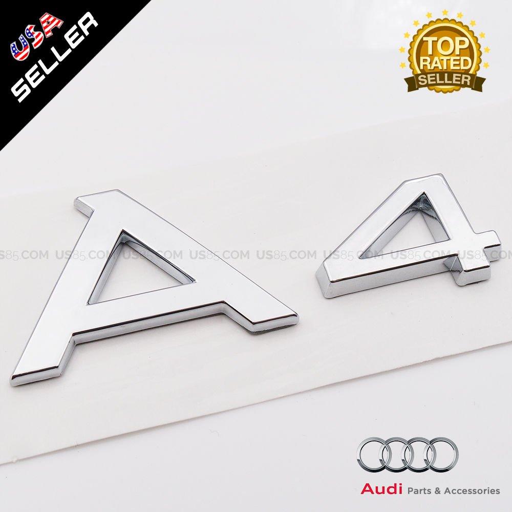 US85 OEM ABS Namensschild Audi A4 Chrom Emblem 3D Kofferraum Logo Badge Dekoration