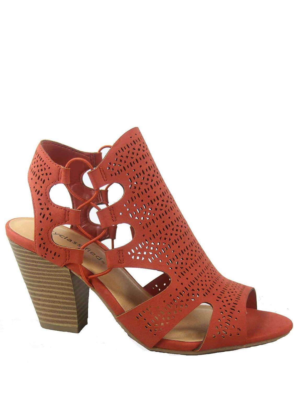 Dark orange City Classified Zuka-s Women's Fashion Summer Sexy Open Toe Chunky Heel Sandals shoes
