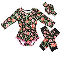 Messy Code Baby Girls Rompers Onesies Pompom Jumpsuits set,,Boutique Red 05,3...