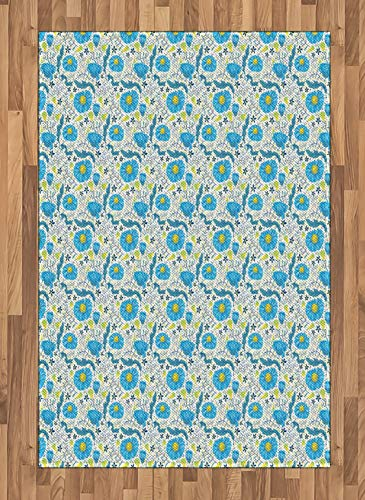 (Blue Floral Area Rug Refreshing Daisy Field Pattern with Doodle Leaves and Little Blossoms Flat Woven Accent Rug for Living Room Bedroom Dining Room )