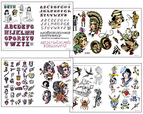 OLD SCHOOL Tattoos Flash Design Book 64-Pages by WorldWide Tattoo Supply (Image #1)