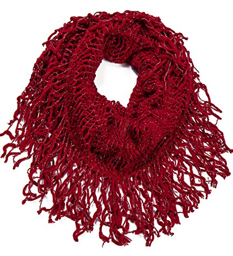 AOLOSHOW Winter Crochet Knit Fringe Infinity Loop Scarf, Various Styles & Colors