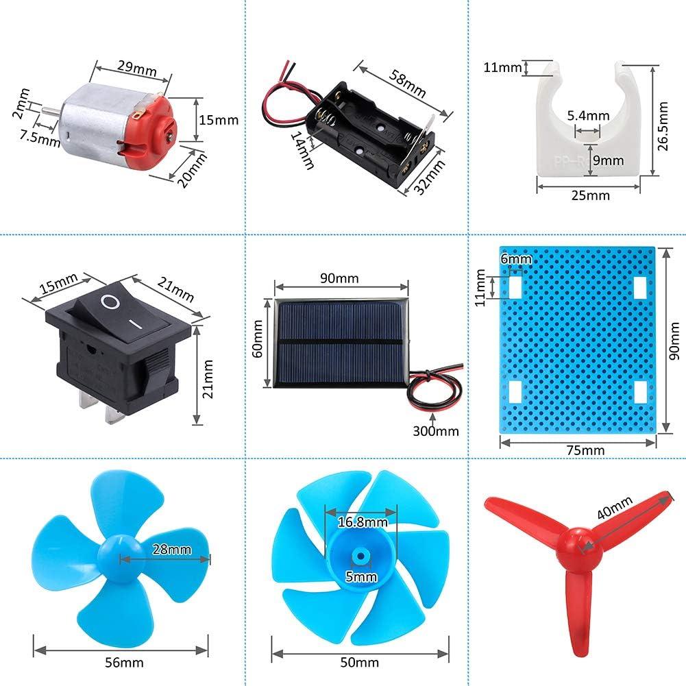Boat Rocker Switch Battery Holder Car Wheel for DIY Science Projects Fixing Plate Shaft Propeller KeeYees DC Motor Solar Panel Mini Fan DIY Plastic Gear Kit