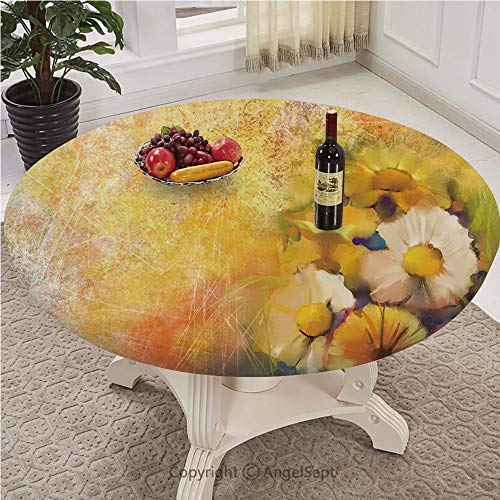 Table Cloth Round 43 Inch To 78 Inch Elastic Edge Fitted Table Cover Great for Indoor and Outdoor Dining and Playing Cards,Yellow Flower,Oil Painting Style Bouquet of Rose Daisy Gerbera Flowers Grunge (Plastic Coated Painting Garden Furniture)