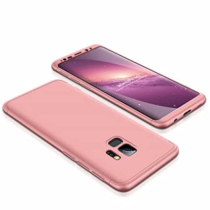 detailed look e5a35 09cb1 For Samsung Galaxy S9 case, 360 degree Rose gold: Amazon.co.uk ...