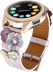 FayTop Genuine Leather Strap Compatible Samsung Galaxy Watch Band 42mm for Women 20mm with Rose Gold Buckle,Galaxy Watch Active Band 40mm Gear Sport/S2 Classic 20mm Watch Strap Wrist Pink