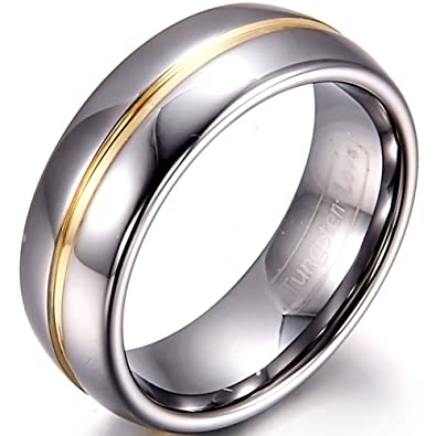 ring rings wedding band tungsten carbide gold classic mens