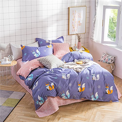 KFZ Bed SET Bedding Set Duvet Cover Flat Sheet Pillowcase No Comforter 4pcs/set ZF Twin Full Queen King Love Flamingo Red Fox Leafy Plant Design Kids Sheets Set (Little Fox, Purple, Full, 71