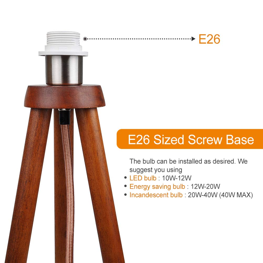 LEPOWER Wood Tripod Floor Lamp, Modern Design Nature Rubber Wood Standing Light, with E26 Lamp Base Reading Light for Living Room, Bedroom, Study Room and Office