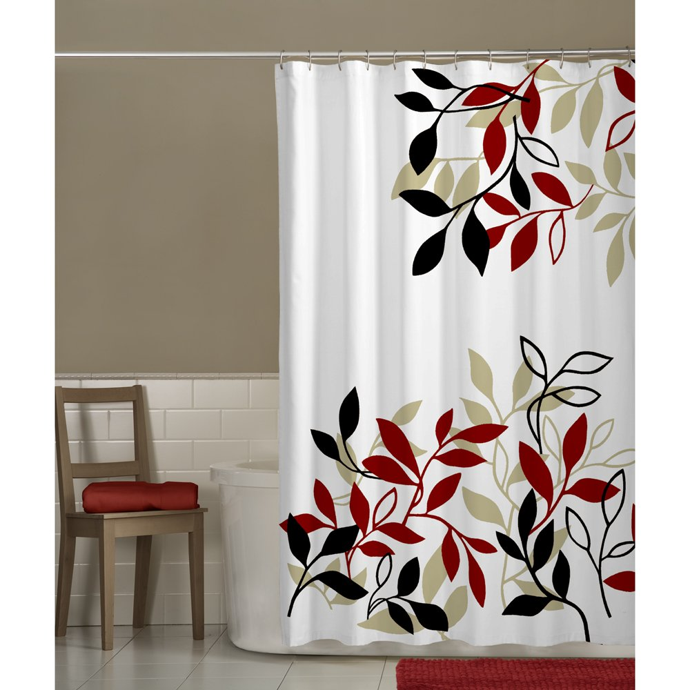 Amazon Com  Maytex Mills Satori Fabric Shower Curtain Red Home Kitchen