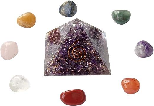 Luottus 2 inch Crystal Orgone Pyramid Energy Generator Reiki Chakra Healing Crystal Stone for Home Decor