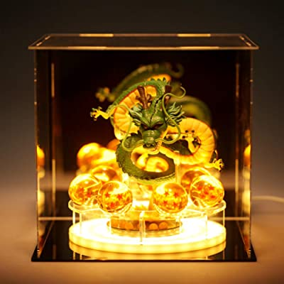Royal Kiss Dragon Ball Z Figurines Shenron Action Figure Shenlong with Dragon Ball Set 7PCS 35mm Crystal Dragon Balls +Acrylic Shelf Charging Light (Set Green Dragon): Toys & Games