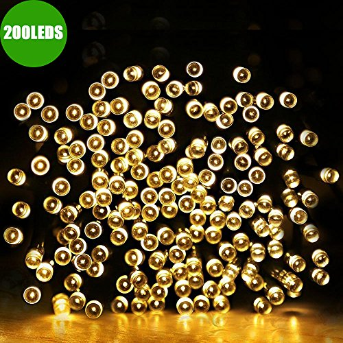 Dephen 200 LED Solar String Lights, 72ft, 8 Modes Waterproof Outdoor Fairy Strand Christmas Lights for Garden, Lawn, Patio, Halloween, Wedding, Party, Xmas Tree, Home Decoration(Warm White) (Outdoor Spring Decorations)