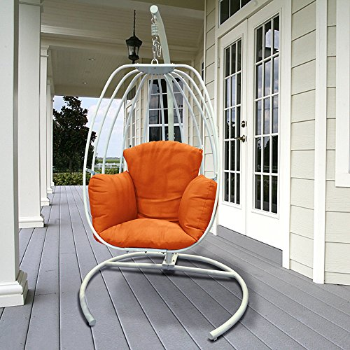 Egg Shaped Hanging Swing Chair with Cushions, Outdoor Patio Porch Swing With C Stand, Egg-shaped Hammock Swing Chair Single Seat (Orange Cushion)
