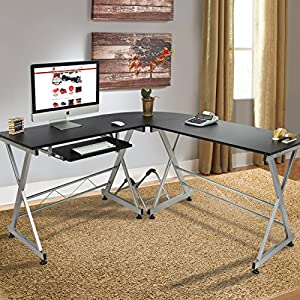 Amazon.com: Best Choice Products Wood L-Shape Corner Computer Desk ...