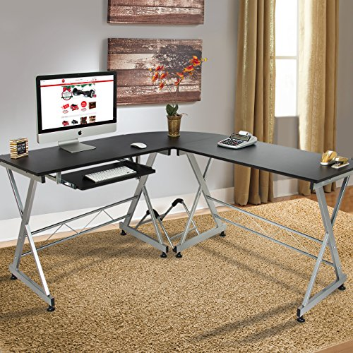 Wood L-Shape Corner Computer Desk PC Laptop Table Workstation Home Office (Black) ()