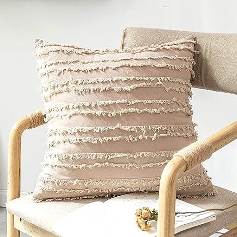 XWH Cojín cuadrado de algodón y lino, Jacquard Fundas ...
