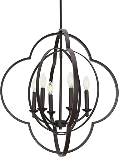 VINLUZ Farmhouse Pendant Lighting Candle-Style 6 Light Metal Globe Dining Room Chandelier