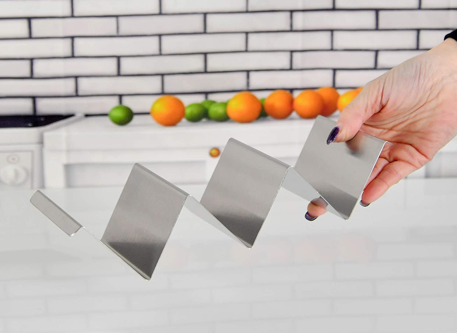 Restaurant and Home Taco Trays Each Tray Holds 2 Tacos HOME-X Stainless-Steel Taco Shell Holders Taco Night-Set of 2 Metal Taco Stand