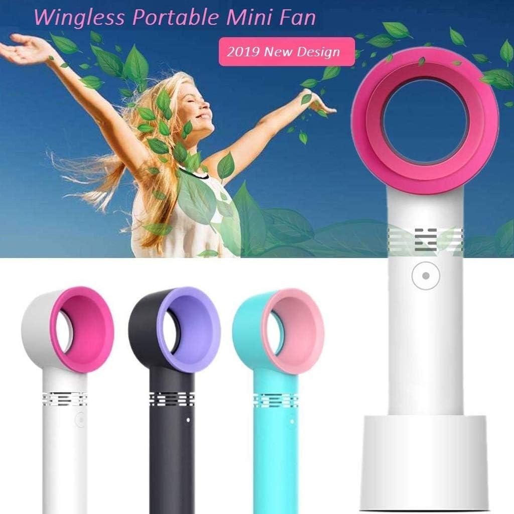 Qi Peng Handheld Mini Fan,Desk Fan Color : White Portable USB Wingless Electric Fan,Bladeless Fan,No Leaf Fan Table//Office//Bedroom//Outdoor Fan