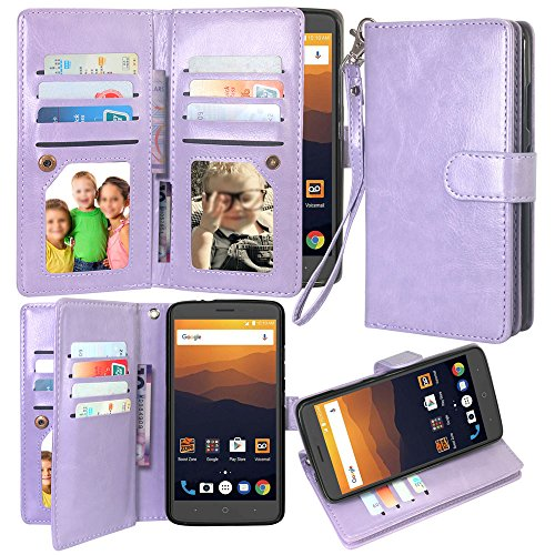 12 Card Slot Kickstand Leather Wallet Flip Case Cover Wrist Strap for ZTE Prestige 2 N9136 / Avid Plus / Chapel / Sonata 3 / Maven 2 / Prestige N9132 (12 Trio Sonatas)