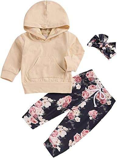 DIGOOD Toddler Baby Boys Girls Striped Hoodie+Floral Pants,For 0-24 Months,2Pcs Fashion Outfits Clothes