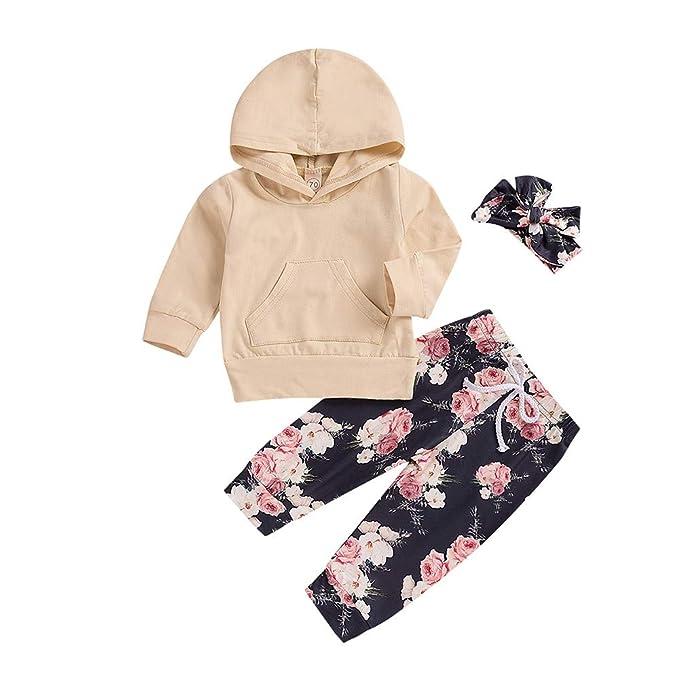YanHoo Baby Long Sleeves Diademas Set Outfit Sudadera con Capucha y Manga Larga para niños con Capucha Top + Pantalones con Estampado de Flores y Correa ...