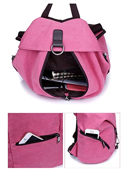 cfb446cf3184 Tiny Chou Womens and Girls  Durable Canvas Backpack Schoolbag Travel Daypack   Amazon.in  Bags