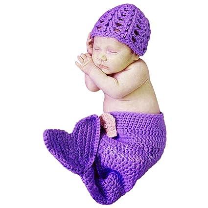 MIOIM Bebé recién nacido de punto de ganchillo sirena ropa para ...