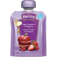 HEINZ Strained Apple, Strawberry & Raspberry Pouch, 6 Pack, 128ML Each