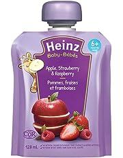Heinz Baby Apple, Strawberry & Raspberry Pouch, 128mL (Pack of 6)
