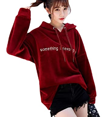 details for best shoes special sales Hadudu Women's Fall Pleuche Hood Baggy Sweatshirts Top at Amazon ...