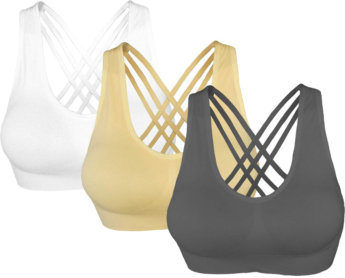 AKAMC Women's Removable Padded Sports Bras Medium Support Workout Yoga Bra 3 Pack,GONG-HBB,Medium