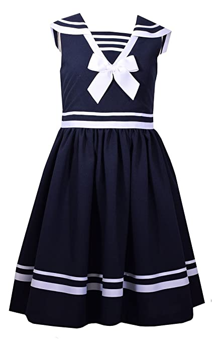 Vintage Style Children's Clothing: Girls, Boys, Baby, Toddler Bonnie Jean Girls Fit and Flare Nautical Dress $50.00 AT vintagedancer.com