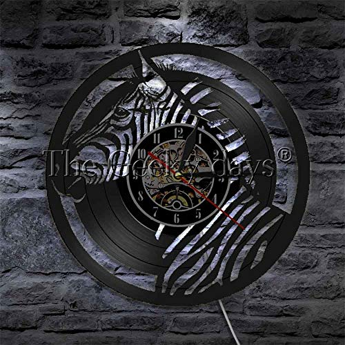 Led Wall Lamp Wall Clock Wallpaper Decoration Zebra Vinyl Cd Record Animal Lover Gift Vinyl Clock 12 Inches with Led