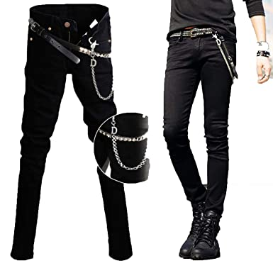 2adbdded544 Image Unavailable. Image not available for. Color  kjPmgDxK Mens Korean  Black Slim Fit Cool Super Skinny Pants Jeans