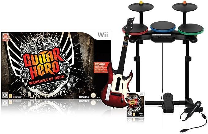 Guitar Hero : Warriors of Rock - Pack complet : jeu + guitare + batterie + micro [Importación francesa]: Amazon.es: Videojuegos