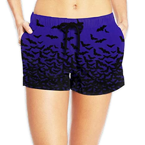 2b27ec2a83699d LXP FZD Womens Beach Board Shorts Halloween Bats Quick Dry Swim Trunks  Funky Surf Shorts Bikini